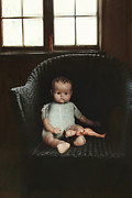 Dirty Window Prints - Vintage dolls on chair in dark room Print by Sandra Cunningham