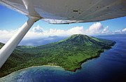 Aeroplanes Framed Prints - Volcanoes seen from a plane on the island of Efate Framed Print by Sami Sarkis
