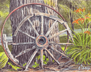 Wagon Drawings Framed Prints - Wagon Wheel Framed Print by Diane Bay