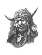 Native Chief Drawings - Walking Buffalo by Lee Updike