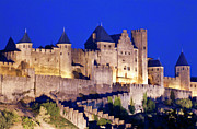 Middle Ages Prints - Walls of the medieval city at dusk in Carcassonne Print by Sami Sarkis