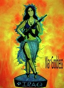 Iraq Mixed Media Prints - War Goddess Print by Michelle Wilmot