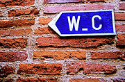 Directional Posters - Water closet sign on a brick red wall Poster by Sami Sarkis