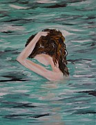 Lady In Lake Painting Posters - Water Envy Poster by Leslie Allen
