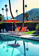 Blue And White Posters - WATER WAITING Palm Springs Poster by William Dey