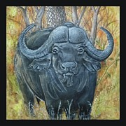 Wildlife Ceramics Metal Prints - Waterbuffalo Metal Print by Tod Locke
