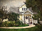 Front Porch Digital Art Posters - Watson Home-Sepia Poster by Kelley Gruver