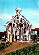 Farm Paintings - West Road Barn - All Rights Reserved by Linda Simon