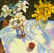 Sunlight Art - White and Yellow Lilies by Gina Blickenstaff