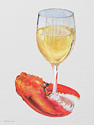 Wine-glass Drawings Prints - White Wine and Lobster Claw Print by Dominic White