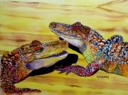 Reptiles Painting Framed Prints - Who Loves Ya Baby Framed Print by Maria Barry