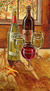 Wine Bottle Paintings - Wine and Starfish by Vic  Mastis