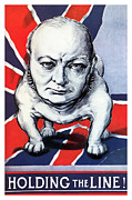 Patriotic Mixed Media - Winston Churchill Holding The Line by War Is Hell Store