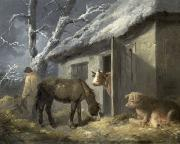 George Morland - Winter Farmyard
