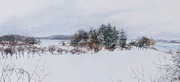 Salt Pastels Prints - Winter in Ipswich MA Print by Sandy Spring
