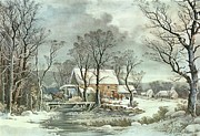 Currier and Ives - Winter in the Country - the Old Grist...