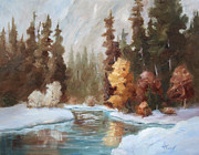 Brenda Thour - Winter Landscape Original Oil Painting