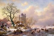 Frederick Marianus Kruseman - Winter Landscape with Castle