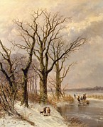 Josephus Gerardus Hans - Winter landscape with faggot gatherers...
