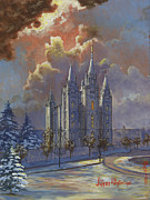 Salt Lake Temple Prints - Winter Solace Print by Jeff Brimley