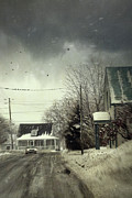 Gloomy Photo Framed Prints - Winter street scene with a car in a small town  Framed Print by Sandra Cunningham