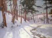 James MacLaren - Winter woodland with a stream