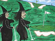 Good Luck Painting Framed Prints - Witches Golf Day Framed Print by Jeffrey Koss