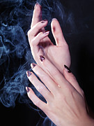 Gestures Posters - Woman Hands in a Cloud of Smoke Poster by Oleksiy Maksymenko