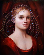 Mythological Painting Prints - Woman in Red Print by Loretta Fasan