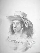 Earrings Drawings - Woman with Ribbon Hat by Bill Joseph  Markowski