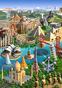 Castle Illustration Posters - Wonders Of The World Poster by Adrian Chesterman