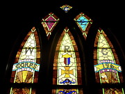 Architecture Glass Art Framed Prints - WRC Stained Glass Window Framed Print by Thomas Woolworth