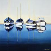 Tied Paintings - Yacht Harbor by Han Choi - Printscapes