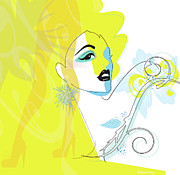 Fashion Face Digital Art Posters - Yellow Face Poster by Lisa Henderling