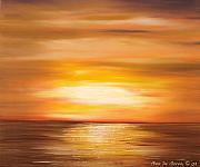 Sunsets Original Paintings - Yellow Gold Sunset by Gina De Gorna