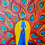 Peacocks paintings abstract