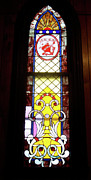 Buildings Glass Art Acrylic Prints - Yellow Stained Glass Window Acrylic Print by Thomas Woolworth