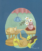 Sunbath Posters - Yellow Sunbath with brown  cat Poster by Rachel Hershkovitz