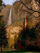 Sunshine On Meadow Prints - Yosemite Chapel and Falls Print by Jeff Lowe