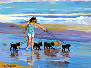 Young Dog Walker Print by Michael Jacques