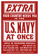 Patriotic Mixed Media Prints - Your Country Needs You In The US Navy Print by War Is Hell Store