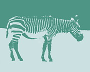 Ramona Johnston - Zebra Silhouette Teal Blue