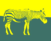 Ramona Johnston - Zebra Silhouette Yellow Aqua