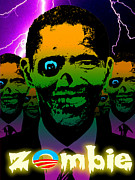 Liberal Digital Art Prints - Zombie Obama Horde Lightning Storm Print by Robert Phelps