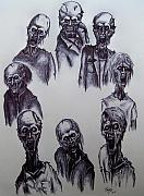 Michael Finney Drawings Posters - Zombies Poster by Michael  TMAD Finney