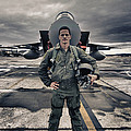 U.s. Air Force Pilot Standing In Front by Terry Moore