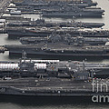 Aircraft Carriers In Port At Naval by Stocktrek Images