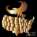 M and L Creations - American Golden Map With...