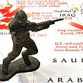 Army Man Standing On Middle East Conflicts Map by Amy Cicconi