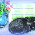 Barbara LeMaster - Black Kitten With Tulips